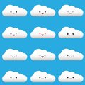Flat design cartoon cute cloud character with different facial expressions, emotions. Set, collection of emoji on blue