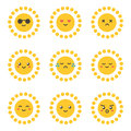 Flat design cartoon cute sun character with different facial expressions, emotions