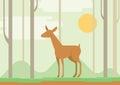 Flat design cartoon vector wild animal der lama Royalty Free Stock Photo