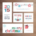 Flat design christmas and new year greeting card templates set of vector cards Royalty Free Stock Photos