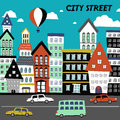 Flat design for the city street concept Royalty Free Stock Photo