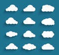 Flat design cloudscapes collection flat shadows vector illustration Royalty Free Stock Photo
