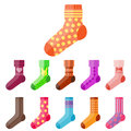 Flat design colorful socks set vector illustration selection of various cotton foot warm cloth