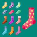 Flat design colorful socks set vector illustration selection of various cotton foot warm cloth