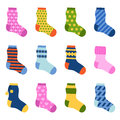Flat design colorful socks set vector illustration.
