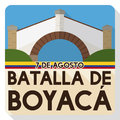 Flat Design Commemorating Boyaca`s Battle with Colombian Boyaca Bridge Landmark, Vector Illustration