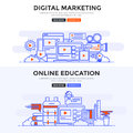 Flat design concept banner - Digital Marketing and Online educat