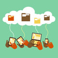 Flat design concept of cloud storage style Royalty Free Stock Image