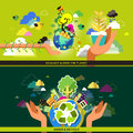 Flat design concept for ecology and recycle
