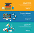 Flat design concept for education ,online library, learning Royalty Free Stock Photo
