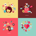 Flat design concept icons for beauty and shopping fashion love Stock Image
