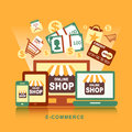 Flat design concept with icons of e commerce ideas symbol and sh buying product via online shop shopping elements Royalty Free Stock Photography