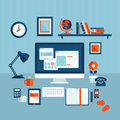 Flat design concept of modern business workspace illustration Stock Photography