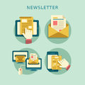 Flat design concept of newsletter regularly distributed news publication via e mail with some topics interest to its subscribers Royalty Free Stock Image
