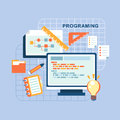 Flat design concept of programmer workflow for web coding Royalty Free Stock Photo