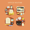 Flat design concept of routine office and business lifestyle Stock Photo