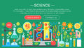 Flat design concept of science. Horizontal banner with scientist laboratory workplace. Scientific research experiment