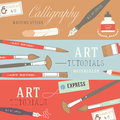 Flat design concepts for art courses exhibitions schools of painting and calligraphy web banners and printed materials Stock Images