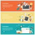 Flat design concepts for online education,online training course