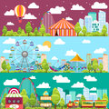 Flat design conceptual city banners with carousels Royalty Free Stock Photo