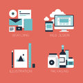 Flat design corporate style icons modern vector illustration set of brand identity web and mobile illustration objects and Royalty Free Stock Image