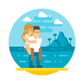 Flat design couple piggyback beach