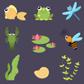 Flat design cute animals set. River life: fish, frog, dragonfly, crayfish, bee, water lily, shells