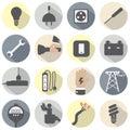 Flat Design Electricity Power Icons Set