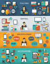 Flat design freelance jobs infographic with long shadows on colorful background Stock Photos