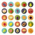 Flat Design Fruit Circular Vector Icon Set Royalty Free Stock Photo