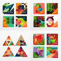 Flat design geometric info banners, web boxes Royalty Free Stock Photo