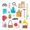 Flat design grandparents items