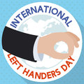 Flat Design with Hand in a Suit Celebrating Left-handers Day, Vector Illustration