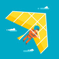 Flat design hangglider illustration Stock Image