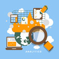 Flat design icon set of analytics elements Royalty Free Stock Photo