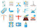Flat design icons collection of gynecology Royalty Free Stock Photo