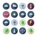 Flat Design Icons For Weather and Nature Royalty Free Stock Photo