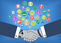 Flat design illustration of business transaction in internet of things era with hand shake and smart watch many icons devices like Royalty Free Stock Images