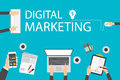 Flat design illustration concept for digital marketing. Concept for web banner Royalty Free Stock Photo