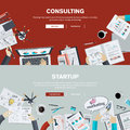 Flat design illustration concepts for business consulting and startup finance management team work analysis strategy planning Stock Images