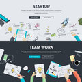 Flat design illustration concepts for business startup and team work Royalty Free Stock Photo