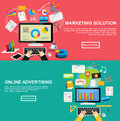 Flat design illustration concepts for marketing solution, online advertising, internet content, investment, SEO Royalty Free Stock Photo
