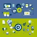 Flat design illustration concepts of responsive w