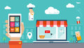 Flat design  illustration. E-commerce, shopping & Royalty Free Stock Photo