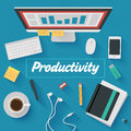 Flat design illustration productive office workplace trendy icons set of business work flow items elements and gadgets Royalty Free Stock Photos