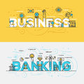 Flat design line concept banner- Business and Banking
