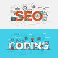 Flat design line concept banner- Seo and Coding