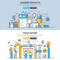 Flat design line concept - Career and Team Work