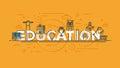 Flat design line concept -Education