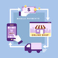 Flat design mobile payments smartphone with processing of Royalty Free Stock Photos
